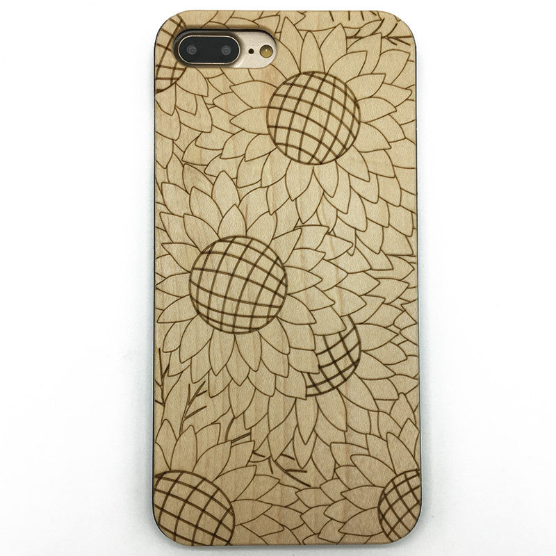 Sunflower (Y008) - wood wooden phone cover case-jiacase