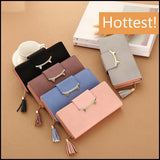 Women Luxury PU Long Clutch Wallet with Tassel Lady Clutch Coin Pocket Card Holder Gift for Her