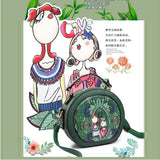 Small Bags Fashionable Young Woman Printed Mini Shoulder Handbag Forest Green Style