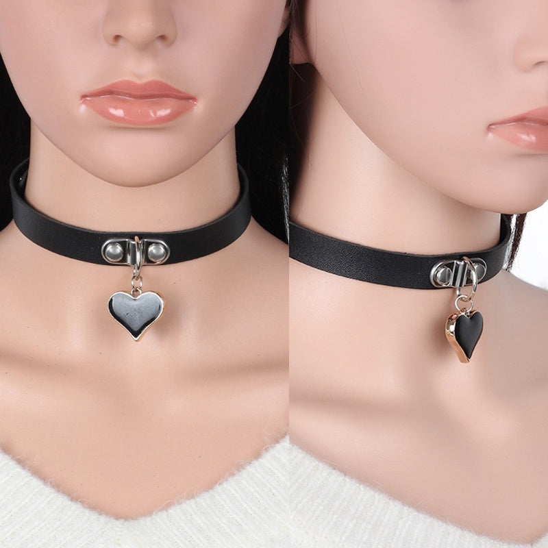Leather Collar Necklace Pendants Female Love Heart-shaped Choker Accessories Trend Gothic Punk Rock Choker Necklaces