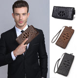3D Embossing Alligator Fashion Crocodile Long Clutch Wallets Men Double Single Zipper Leather Men's Purse Business Carteras