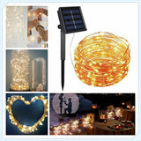 Solar Powered String Lights 100 LED Copper Wire Lights Starry String Lights Indoor/Outdoor Waterproof Solar Decoration Lights for Gardens Home Dancing Party Decorative Ornaments