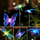 Dragonfly Butterfly Solar Powered Garden Lawn LED Light Lamp  Landscape Stainless Steel Spot Lamp