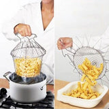 1 Piece Foldable Steam Rinse Strain French Fry Cchef Basket Magic Basket Mesh Basket Strainer Net Kitchen Cooking Tool