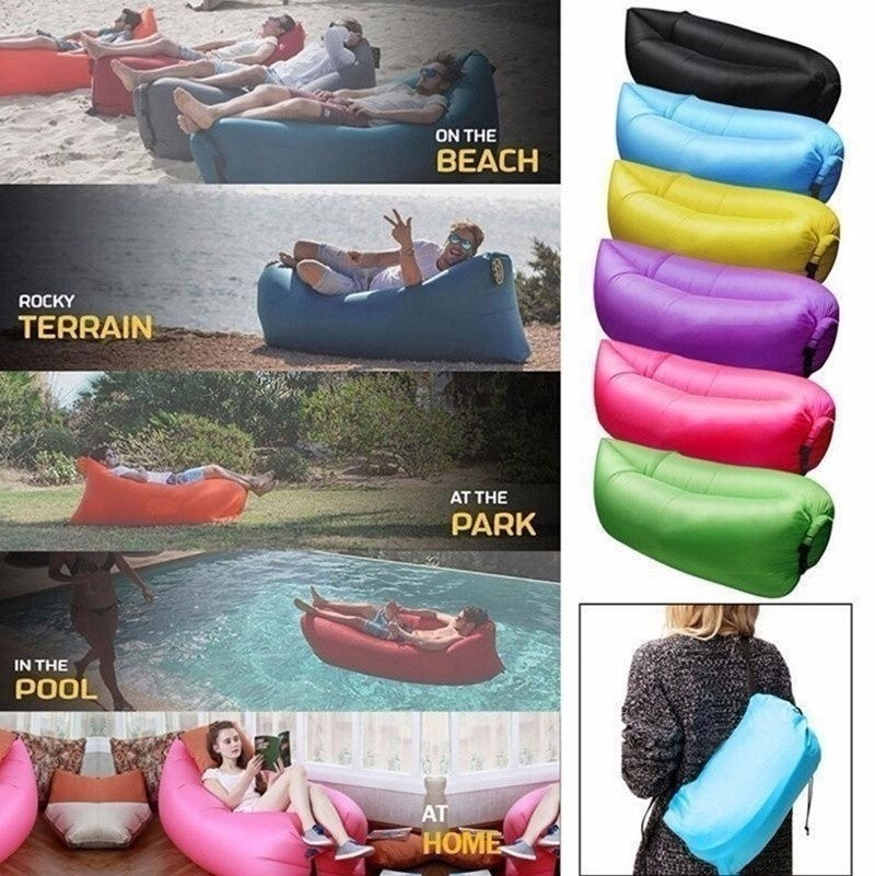 Ultra-light Fast Inflatable Fashion Camping Outdoor Hangout Air Bag Sleep Beach Sofa Bed Lounge Portable Nylon Lazy Sofa