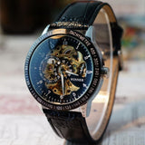 Sanwood Cool Design Men's Hollow Skeleton Dial Faux Leather Automatic Mechanical Wrist Watch