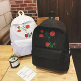 New Fashion Unisex Harajuku Embroidered Roses Backpack Men's Five Flower Schoolbag Women's Travel Shoulder Bag