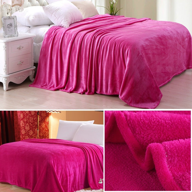 Baby Fashion Super Soft Warm Solid Micro Plush Fleece Blanket Throw Rug Sofa Bedding Flannel Sheets 12 Colors