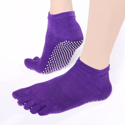 Cotton Low Cut Five Toe Socks Unisex Sport Ankle Socks with Anti-skid Design for Yoga Running