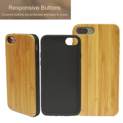 Real Wood Covered Buttons iPhone Case (P01)