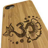 OM Lotus Flower Sign Symbol Yoga Bamboo Wood Cover Phone Case Wooden