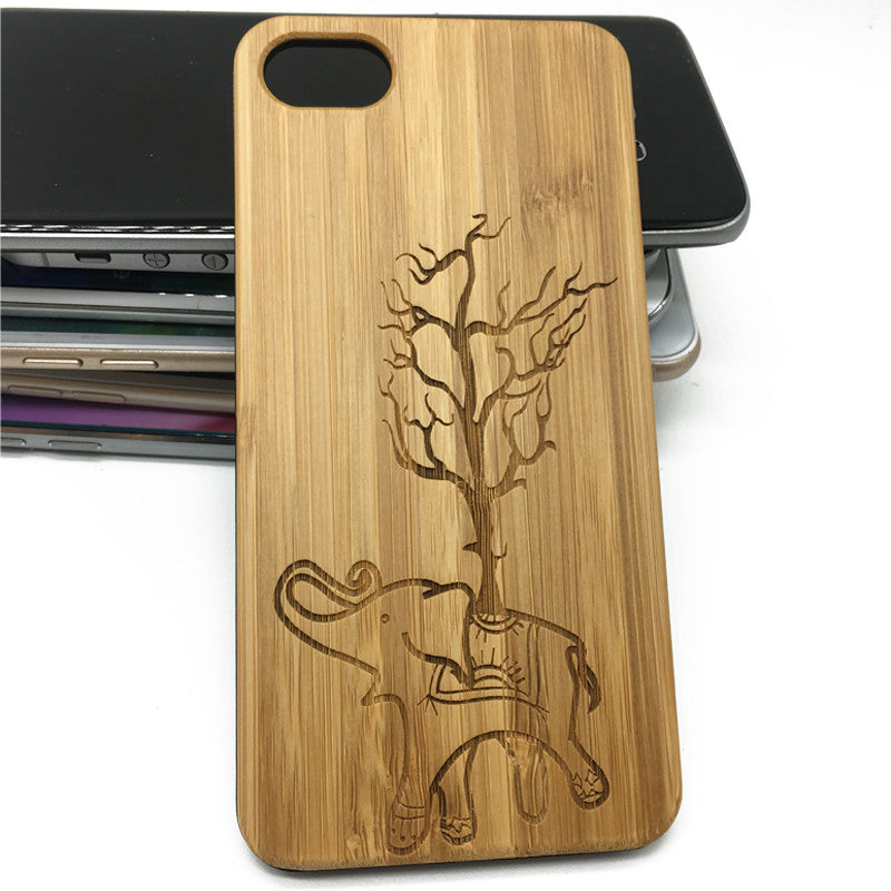 Natural Bamboo iPhone 7 6 6s Plus 5 5s 4s Elephant Wood Case Wooden Samsung Galaxy S7 S6 Edge S5
