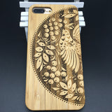 Half circle bird pattern wood case bamboo phone case for Iphone&Galaxy