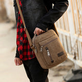 Canvas Vintage School Satchel Messenger Military Shoulder Leather Bags