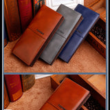 Mens Long Wallet PU Leather Purse Cash Credit Cards Holder
