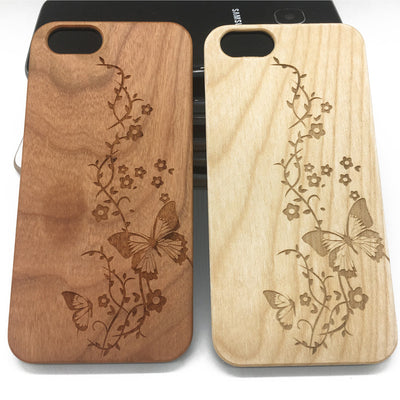 Flowers Butterfly Wood Case iPhone7 6 6s Plus 5Samsung Galaxy S7 S6 S5 Edge