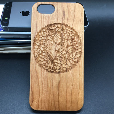 Bird Pattern Totem Worship Wood Case iPhone 7 6 5 Plus Samsung S7 S6