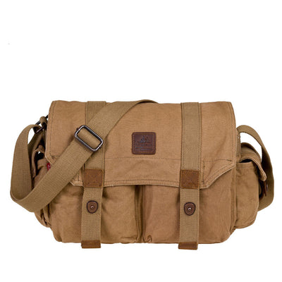 Men Women Vintage Canvas Leather Military Shoulder Messenger Satchel School Bag (GY16)