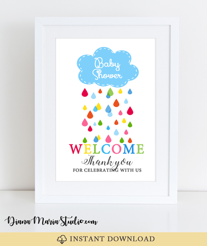 Welcome Sign Baby Shower Cloud Rainbow Drops - INSTANT DOWNLOAD