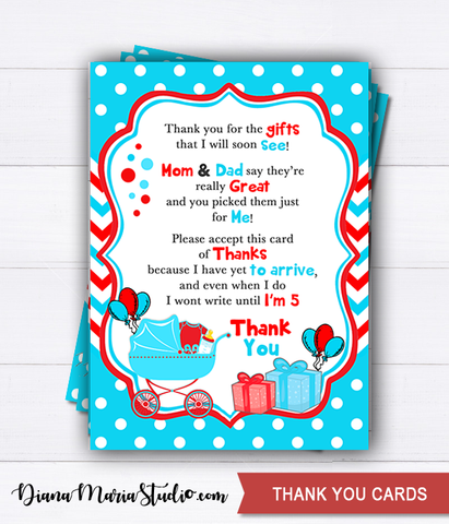 Dr Seuss Thank you cards Baby Shower Cat in the hat - INSTANT DOWNLOAD