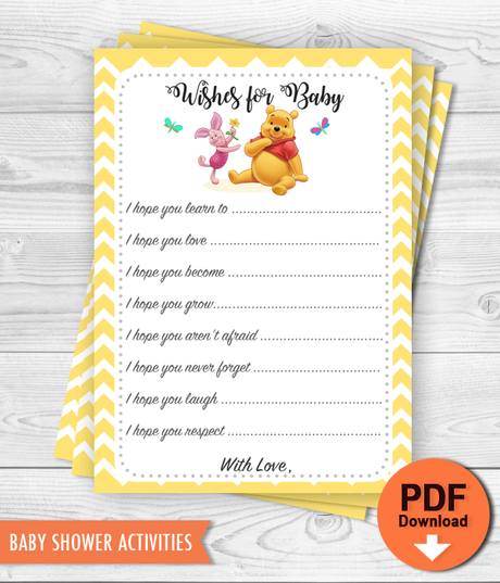 Printable Winnie the Pooh Wishes for Baby Shower activity - INSTANT DOWNLOAD
