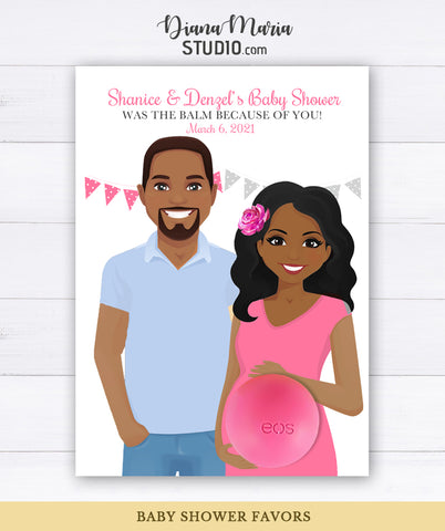 African American Couple Baby Shower Favors Eos Balm Holder Card Gender Reveal Printable Favors