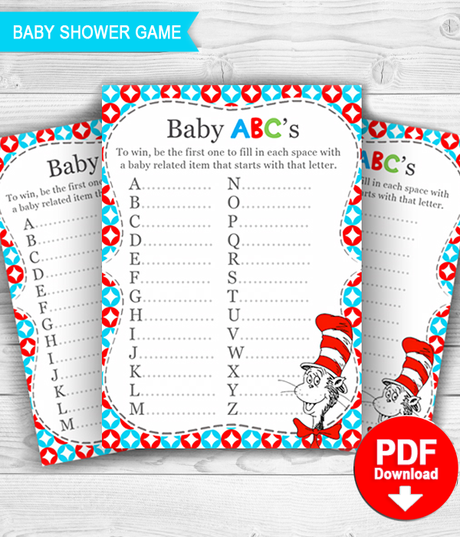 photograph about Printable Baby Shower Games With Answer Key called Dr Seuss Youngster Shower Sport Child ABC with resolution mystery - PRINTABLE PDF