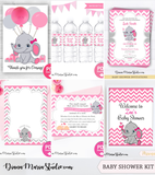 Elephant Girl Baby Shower Invitation Complete Kit - PRINTABLE