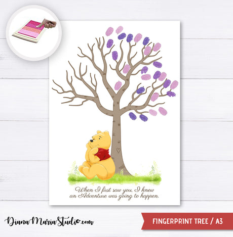 Printable Winnie the Pooh Fingerprint Tree for Baby Shower Creative DIY Guest Signature A3 - INSTANT DOWNLOAD