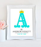 Girl Birth Announcement Wall Art Crown Nursery 8x10 - Printable PDF