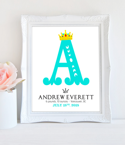 Birth Announcement Wall Decor Royal Baby Initials for Nursery 8x10 - Printable PDF
