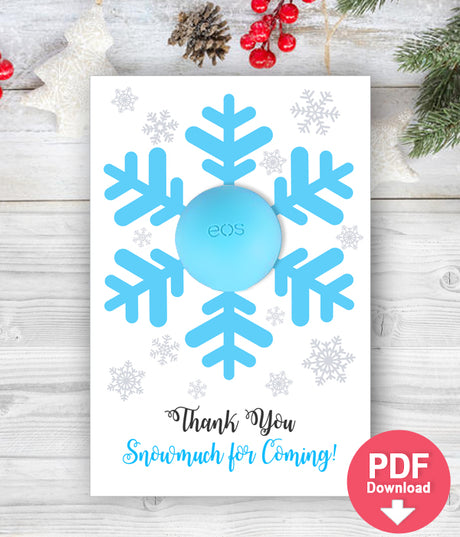 Snowflake EOS balm holder Baby Shower Favors with EOS lip balm - Snowflake favors - INSTANT DOWNLOAD