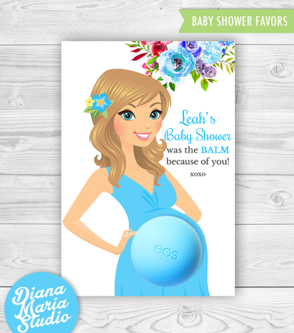 Eos Baby Shower Favors Belly Balm Holder Hawaiian Tropical Baby Shower - PRINTABLE CARD