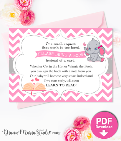 Elephant Book Insert Girl Baby Shower Printable Bring a book card INSTANT DOWNLOAD