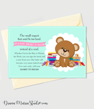 Printable Book Insert Teddy Bear Baby Shower - INSTANT DOWNLOAD