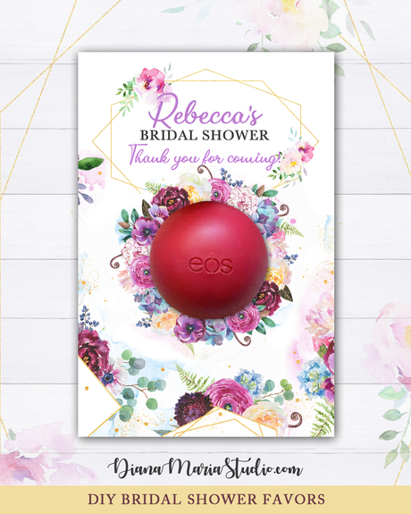 Eos Bridal Shower Favors Floral Wreath  Eos Balm Holder - Printable PDF
