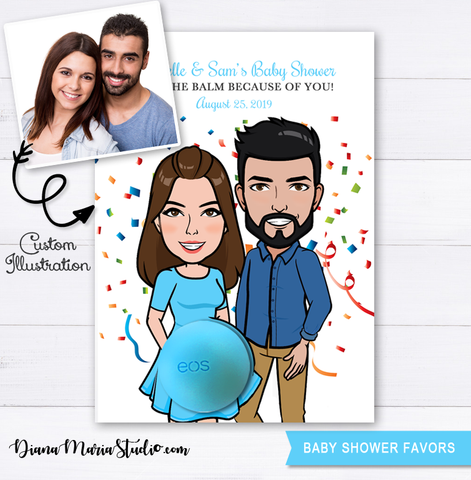 Custom Couple Illustration Eos Baby Shower Favors, Customized Couple Portrait, Eos Balm Holder
