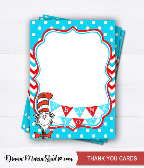 Printable Dr Seuss Thank you cards - INSTANT DOWNLOAD