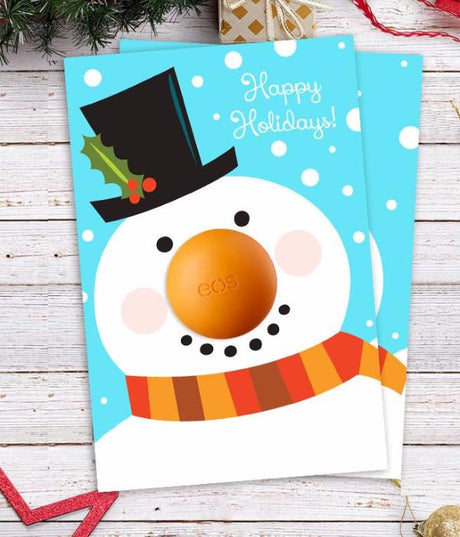 EOS Christmas Gift - DIY Snowman Card with Eos lip balm - Stocking fillers - Printable Template-INSTANT DOWNLOAD
