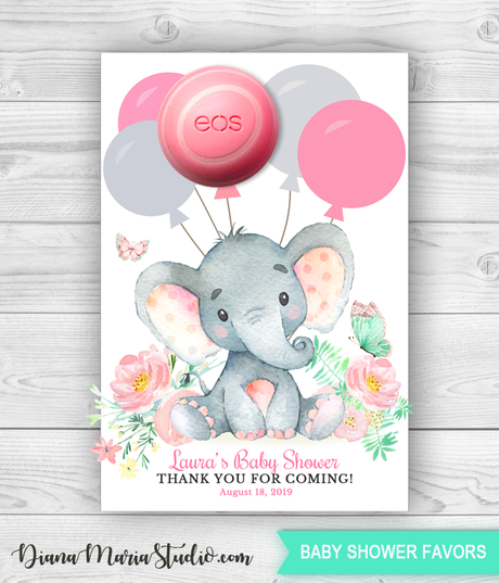 Elephant Eos Balm Holder, Eos Baby Shower Favors, Purple floral watercolor baby shower PRINTABLE PDF
