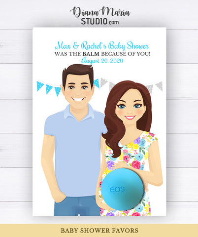 Co-ed Baby Shower Favors Eos Balm Holder Card - Couple Gender Reveal Baby Shower