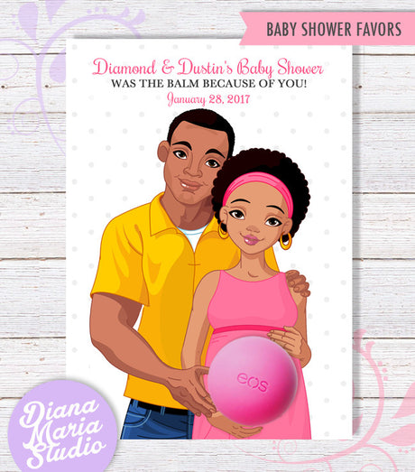 Eos Baby Shower Favors African American Co-ed Baby Shower Favor Card African American Couple-Personalized Digital Template