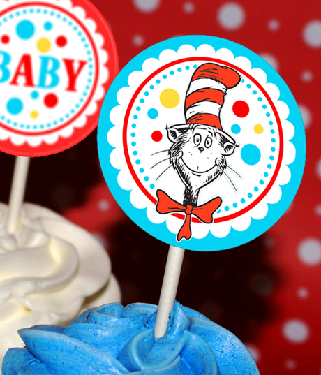 Dr Seuss Cat in the Hat Cupcake Toppers-Lollipop stickers - INSTANT DOWNLOAD