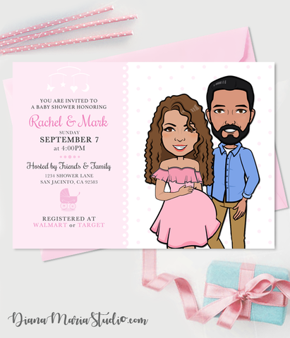 Couple Baby Shower Invitations Custom Illustration Co-ed Baby Shower Printable PDF