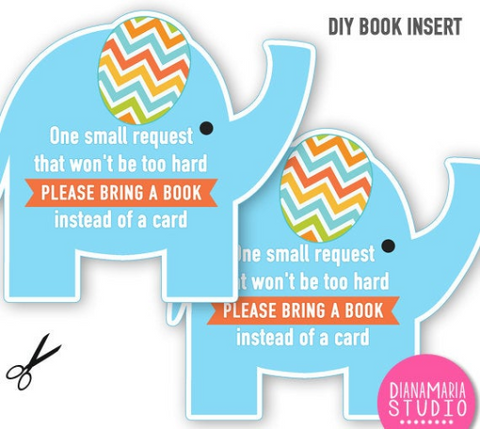 Elephant Baby Shower Book Insert - Girl Baby Shower Boy Baby Shower Book Request - Bring a book instead of card - INSTANT DOWNLOAD
