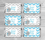 Mini Candy Wrappers Baby Shower /It's a Boy Party Elephant Theme/Baby Shower Favors Candy Bar/Blue and gray chevron pattern/INSTANT DOWNLOAD