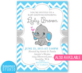 Welcome Sign Boy Shower - Elephant Theme Baby Shower Decoration- It's a boy party - Blue grey chevron pattern - PRINTABLE