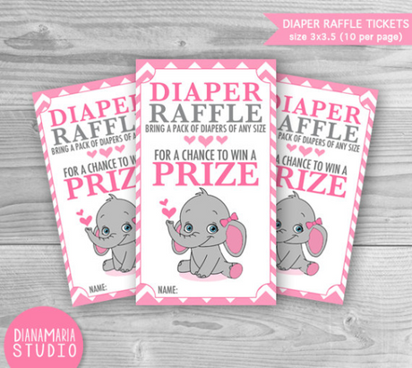 Diaper Raffle Elephant Tickets- Baby Shower Games Printable diaper raffle tickets Pink chevron - INSTANT DOWNLOAD
