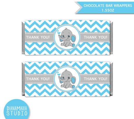 Chocolate Bar Wrappers Elephant Boy Baby Shower Printable Candy Wrapper Label Blue Chevron