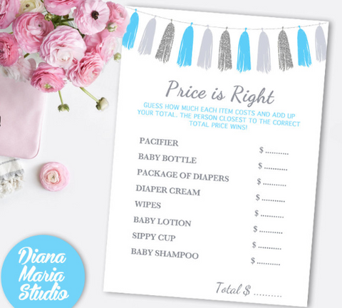 Price is right Boy Baby Shower Game - Printable baby shower games - Blue silver gray tassel - INSTANT DOWNLOAD